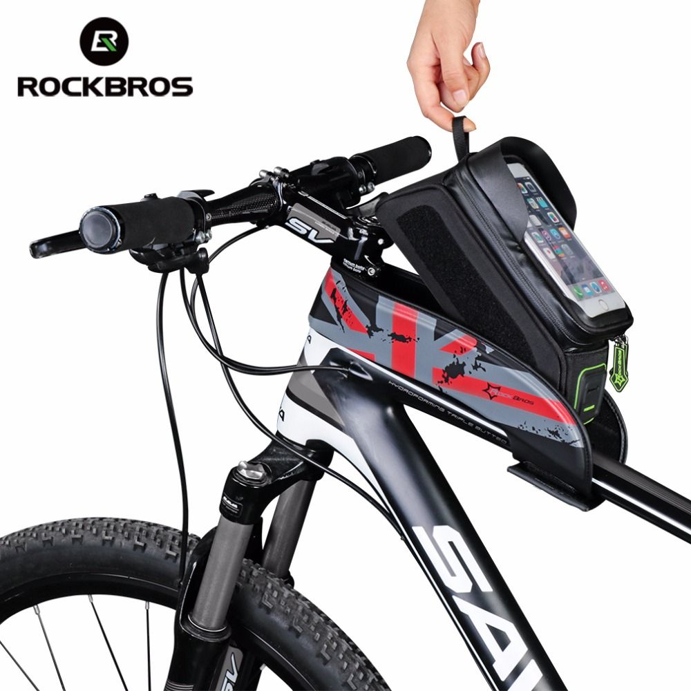 ROCKBROS Bicycle Front Top <font><b>Tube</b></font> Bag Cycling Bike Frame Saddle Package For Mobile Phone Waterproof Touch Screen Bike Accessories