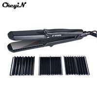 В 240-100 в Professional Сменные 4 в 1 керамические щипцы для волос выпрямитель кукурузы Waver пластина из железа с покрытием с перчаткой