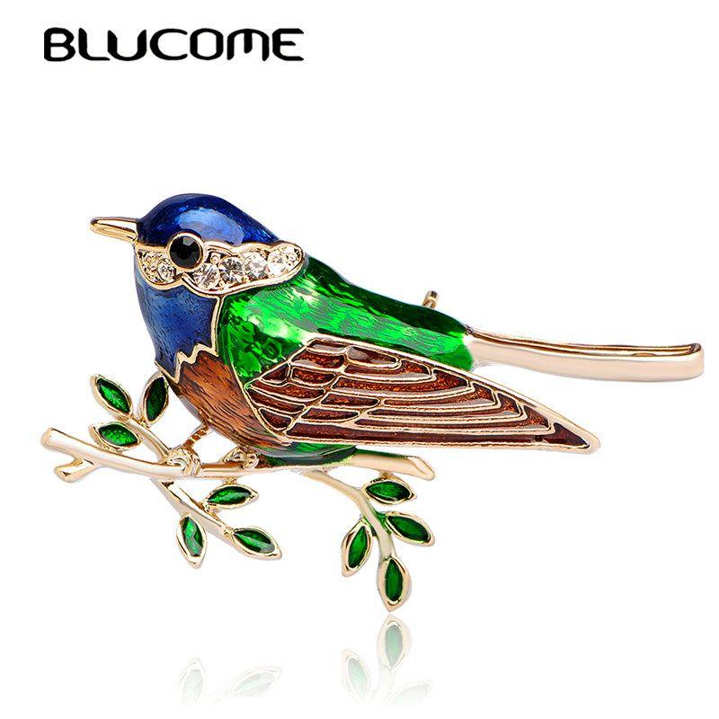 Blucome Colorido Esmalte Broches Sucursales Bird Niños Dama Ramillete Clips Para Juego de La Bufanda Vestido de La Decoración de Oro de color Joyería Pasadores