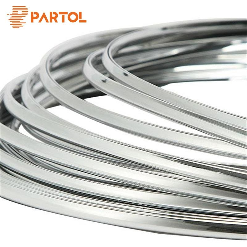 Partol 6mm 3Meters Car Styling Chrome Mouldings Strip Bumper Decorative Strips Adhesive Grille Impact Car Door Protection Trim