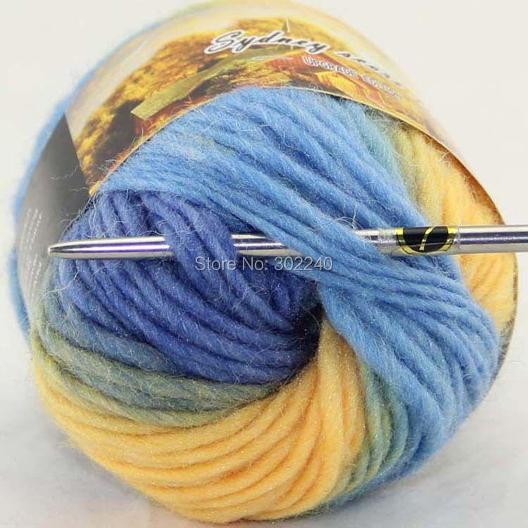 Lot of 1 skeins x 50g Chunky Hand Coarse Knitting Scores wool yarn Grey Sky Blue Yellow 803