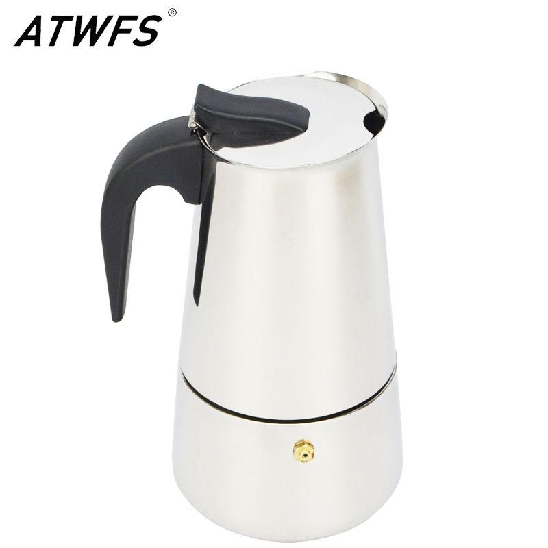 ATWFS High Quality 2/4/6/9 Cups Stainless Steel Coffee Maker Moka Pot Espresso Cups Latte Percolator Stove Top Espresso Pot