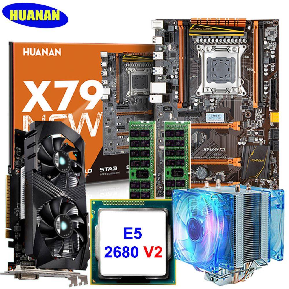 HUANAN deluxe X79 MOTHERBOARD-FREIES CPU RAM set mit grafikkarte GTX1050ti 4G Xeon E5 2680 V2 RAM 32G DDR3 1600 MHz RECC mit CPU kühler