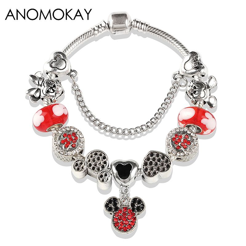 European American Fashion Mickey Minnie Pan Charm Bracelet Red Crystal Bead Bracelet for Women Child Gift Diy Jewelry Making
