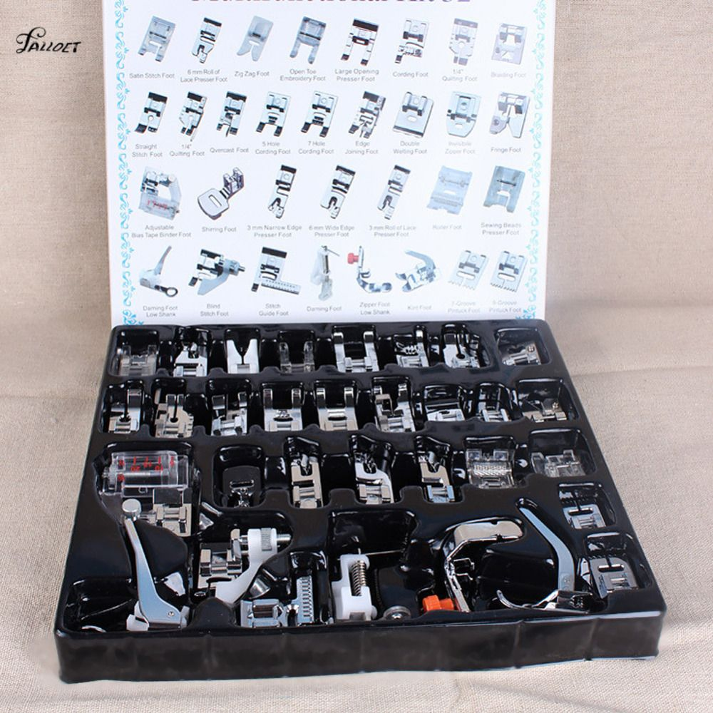32pcs Presser Sewing <font><b>Machines</b></font> Foot Feet Snap On Sewing Domestic Household Sewing Tools Set Box For Brother Singer Janome Tool
