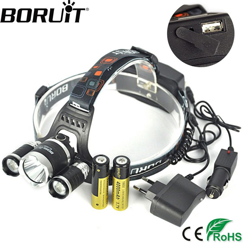 <font><b>BORUiT</b></font> RJ-5000 XML-T6 R2 12000LM Headlight 4-Mode Headlamp Power Bank Head Torch Hunting Camping Flashlight 18650 Battery Light