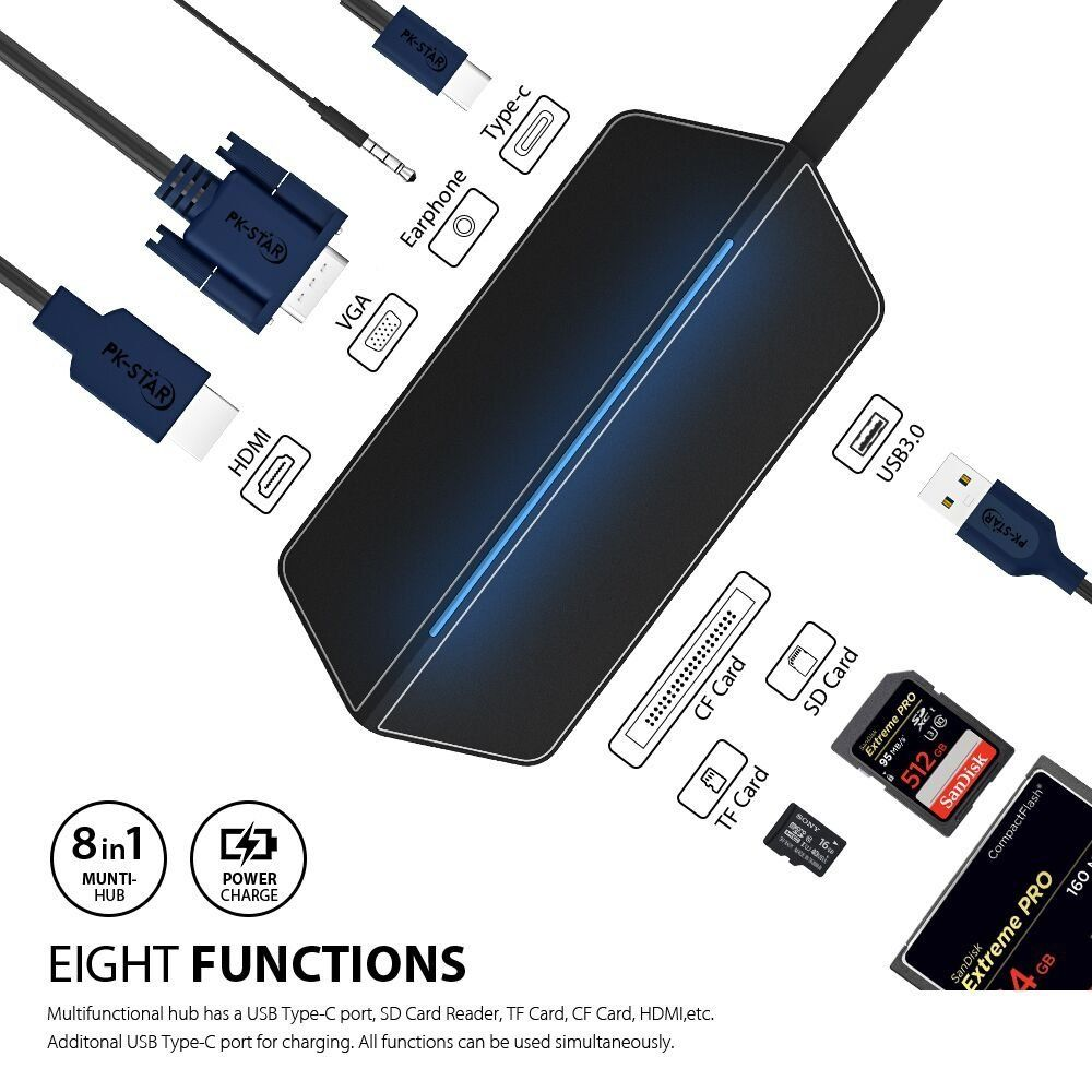 USB Type C To HDMI VGA Adapter Thunderbolt 3 Dock Dongle USB C Hub Combo Micro SD Card With 3.5MM Aduio Socket For MacBook Pro