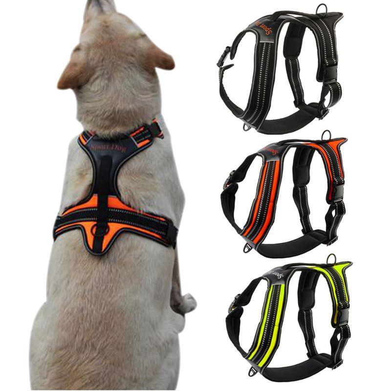 Nylon No-Pull Dog Harness Reflective Outdoor Adventure Pet Vest with <font><b>Handle</b></font> For Medium Large Dog Pitbull