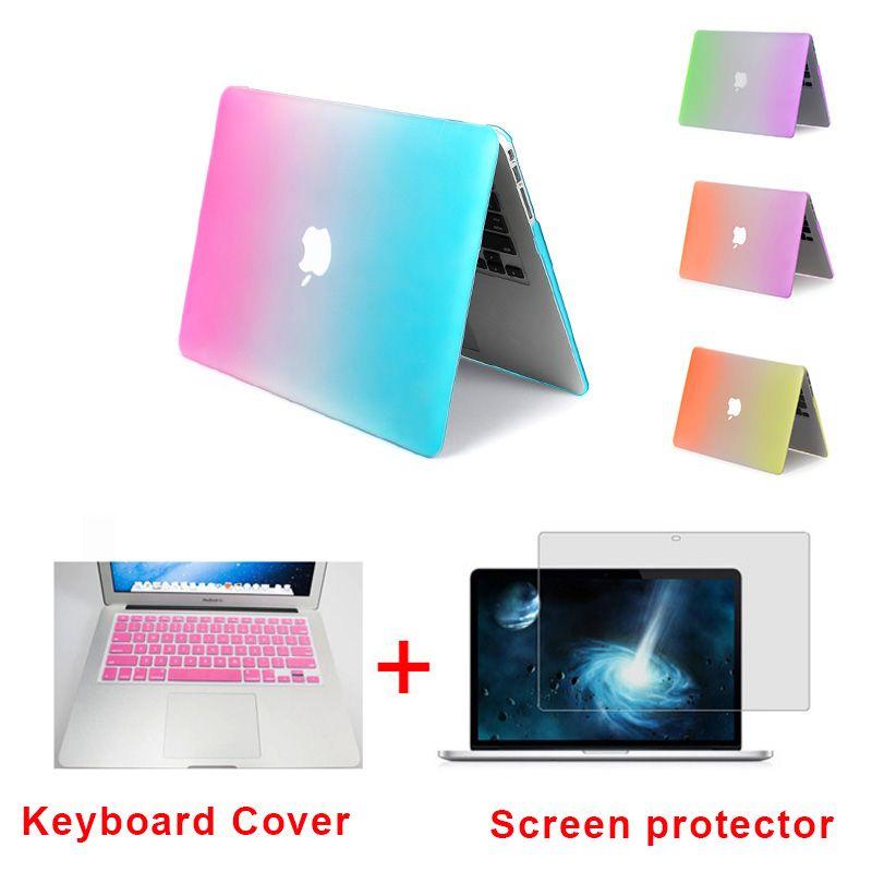 Модные матовые радуга Жесткий Чехол для Apple MacBook Air 13 Чехол Air 11 Pro 13 15 Retina крышка ПК + розовая Крышка клавиатуры