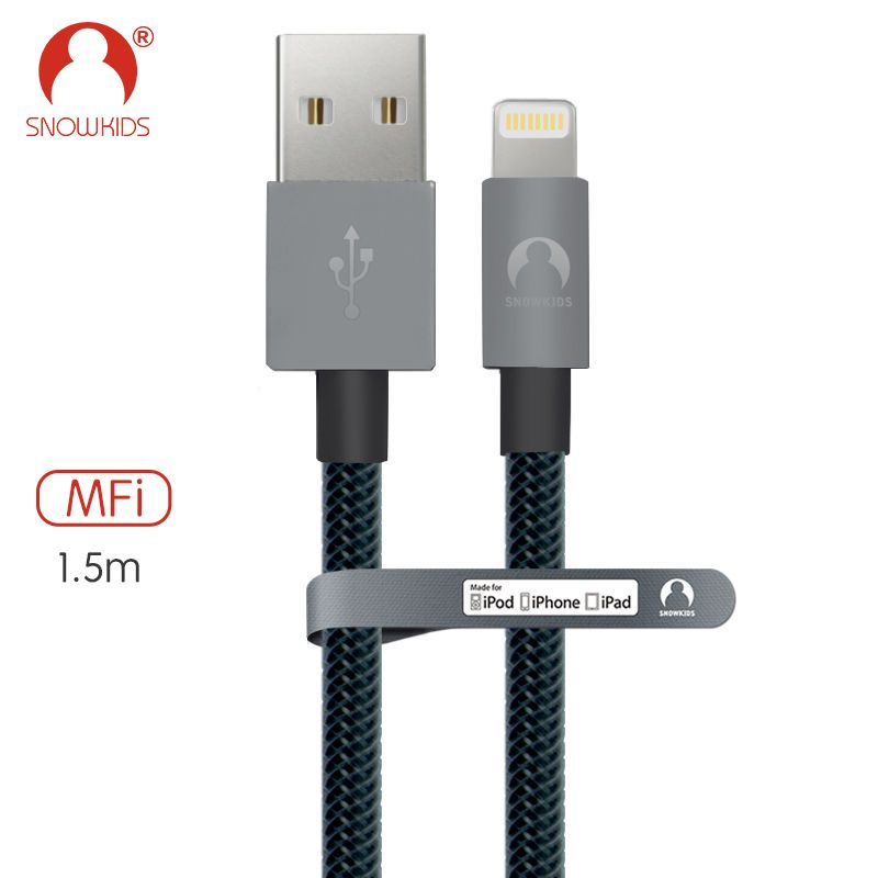 Snowkids 1.5m grey strong synthetic fiber cable for iphone SE 6S 6 7 8 X plus for ipad mini Air
