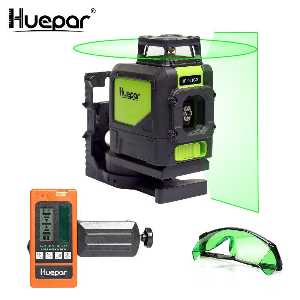 Huepar Laser Ebene Grüne Strahl Kreuz Laser Selbst nivellierung 360-Grad mit 2 Pluse Modi + Huepar Laser empfänger + Huepar Laser Gläser