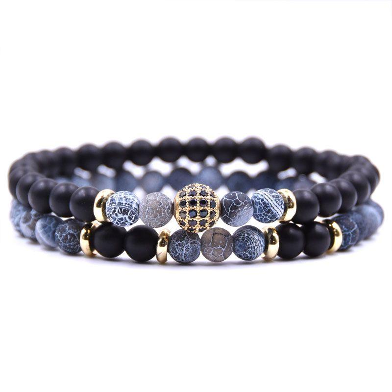 HYHONEY 2pc/sets Natural stone Bracelet men Micro Pave CZ 8mm Disco Ball Charms Bracelets for women Men jewelry viking bijoux