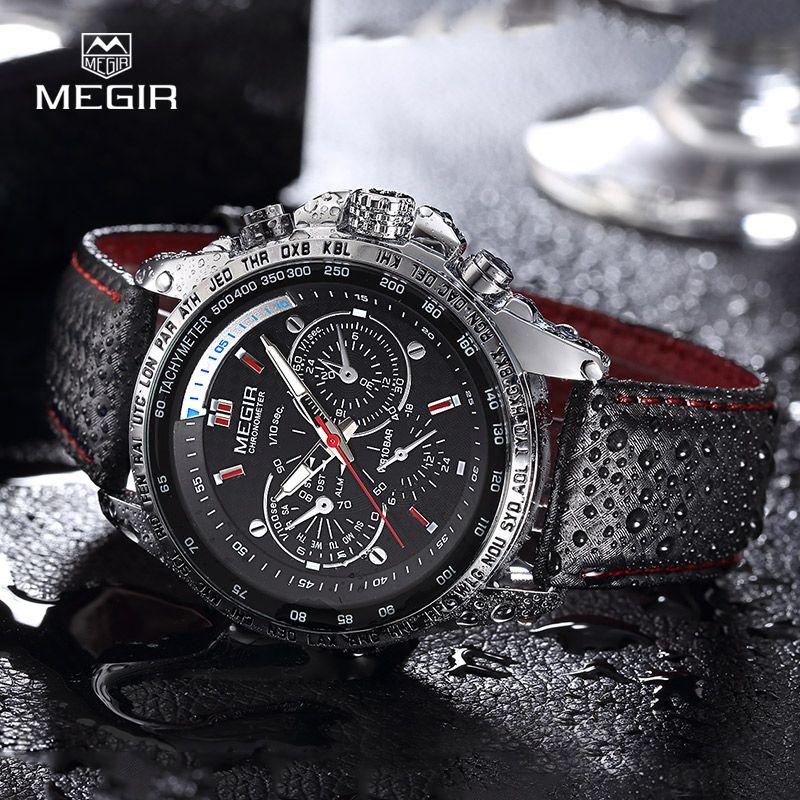 MEGIR chaude de mode homme montre à quartz de marque imperméable à l'eau en cuir montres pour hommes casual noir montre pour homme 1010