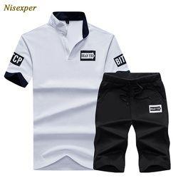 2017 Pria Surat Cetak Tipis polo shirt dan Celana Pendek Set Kegiatan Pemuda pria Pendek Setelan Pendatang Baru Plus Ukuran 4XL