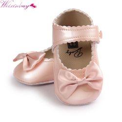 Chine Infantile Bébé Filles Premiers Marcheurs Souple Semelle PU En Cuir Bebe Lit Arc Chaussures 0-18 Mois Mocassins Bébé chaussures