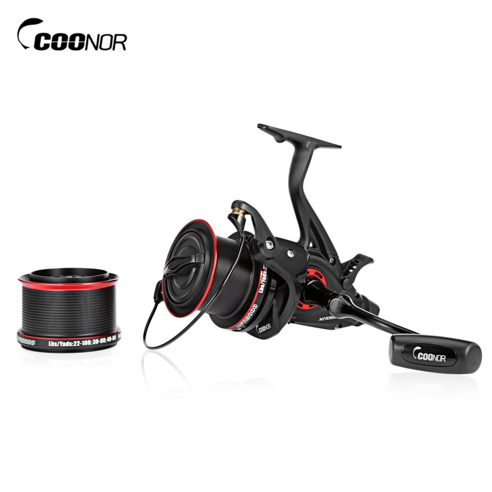 COONOR NFR9000 +NFR8000 4.6:1 Full Metal Spinning Fishing Reel 12 + 1 BB Carp Fishing Coils with Double Spool Folding Handle