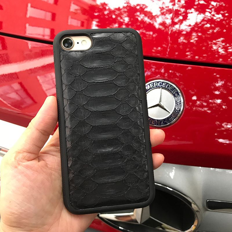 Natural Real Genuine Leather Cover Case For iPhone X 8 7 Plus Xs Max Case 3D Python Skin Snake Design custom name Phone Case