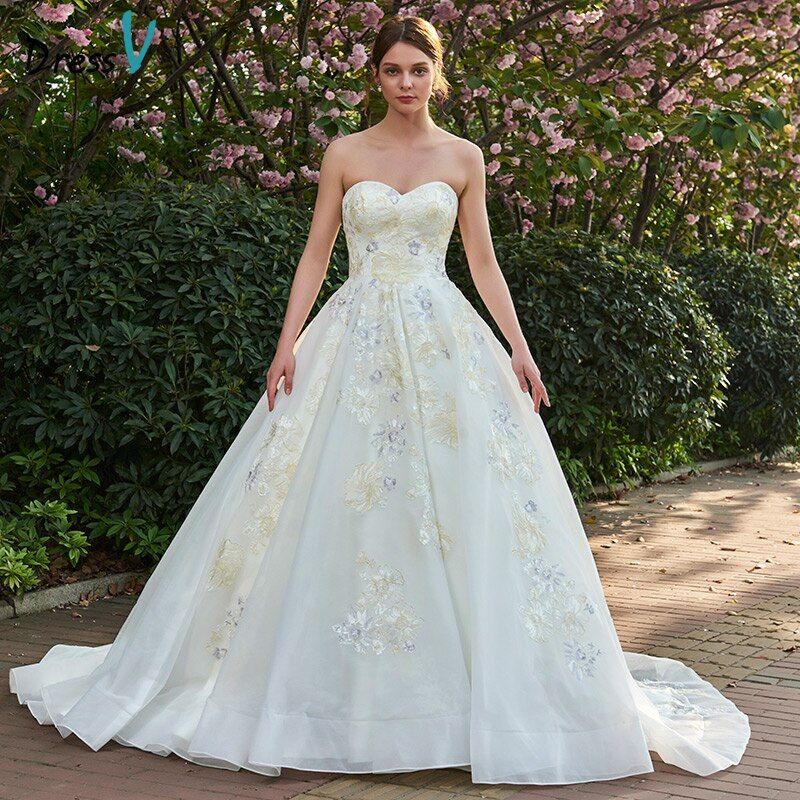 Dressv Ivory Long Wedding Dresses Sweetheart Neck Sleeveless A Line Appliques Tulle Elegant Garden Church Custom Wedding Dresses