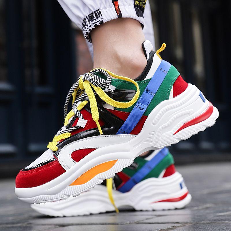 Thick Sole Women Running Shoe Breathable INS Ulzza Harajuku Platform Sneaker Light Increasing Men Vintage Dad Chunky Walk ABO 48