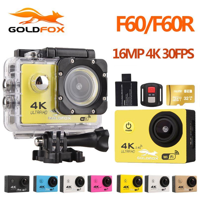 Goldfox F60 Ultra HD 4K WiFi 1080P Action camera DV Sport 2.0 LCD 170D lens go waterproof pro Hero Style camera Accessories
