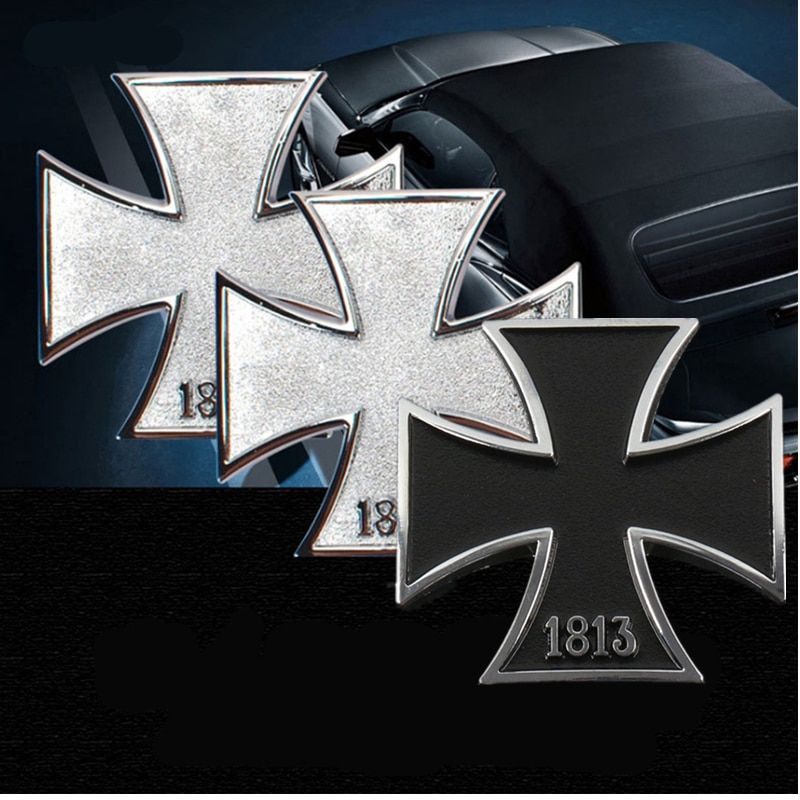 2 color 1813 3D Germany Iron Cross Car-styling Chrome Metal Malta Virtue Cross Car Stickers Emblems Decorations Accessories