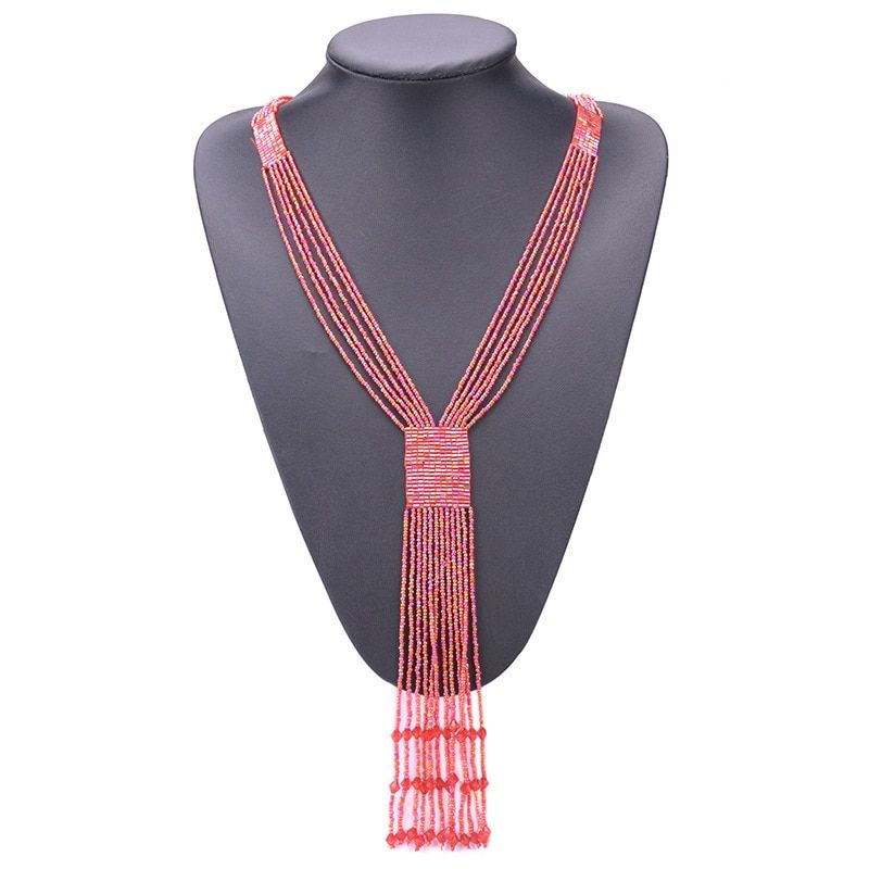 CDN001 Bohemian Red Necklace 7 Color Long Tassel Beads Chains Small Beaded Necklaces For Women Boho Jewelry
