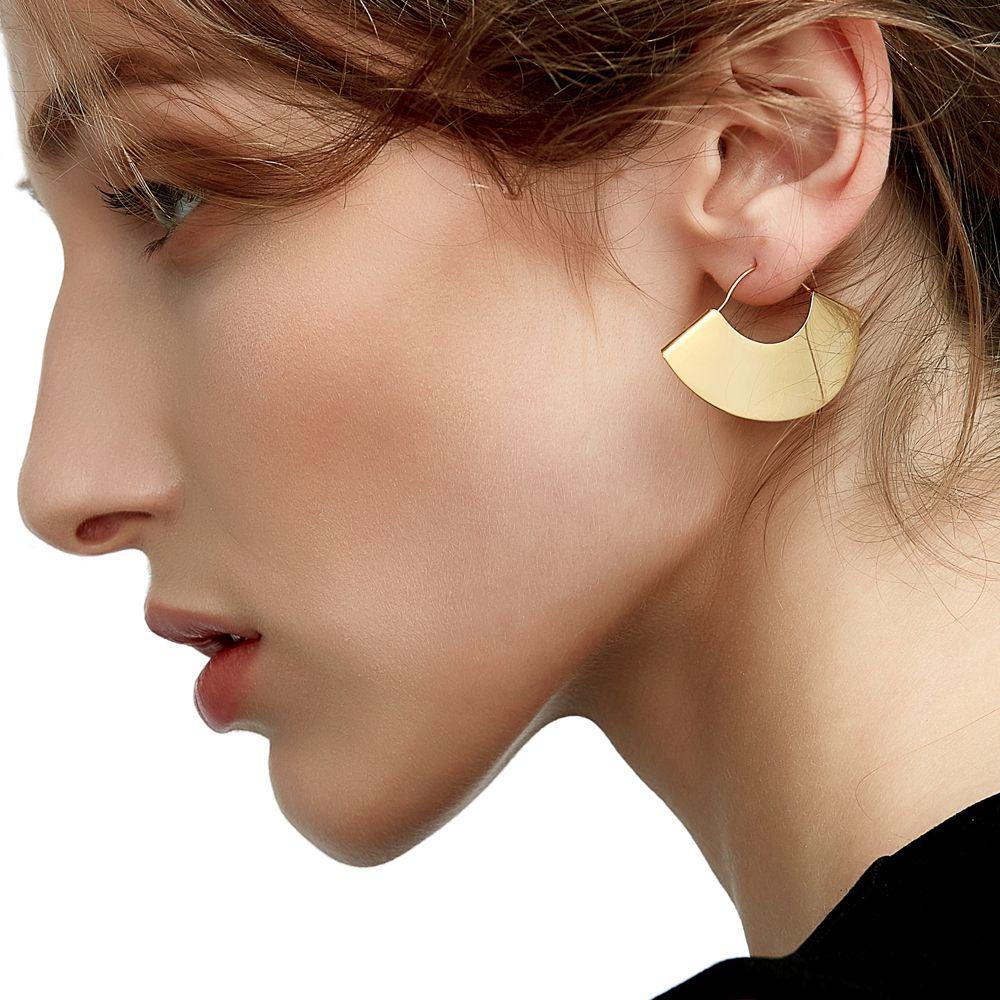 Enfashion Vintage Camber Fan Dangle Earrings Matte Gold color Earings Drop Earrings For Women Long Earring Jewelry brinco