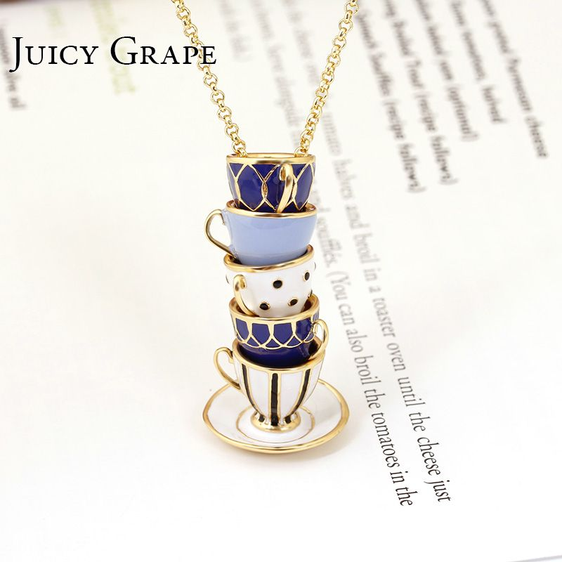 Collier émail peint à la main de raisin juteux Bijoux pendentif de thé longue chaîne collier ras du cou Bijoux Femme Bijuteria femmes