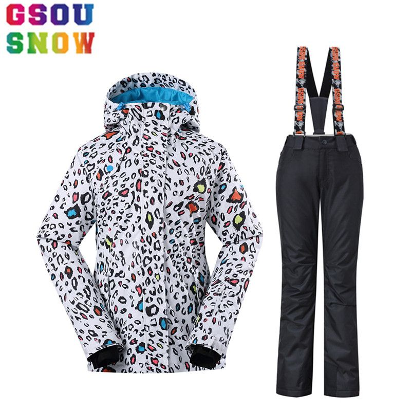GSOU SNOW Brand Ski Jacket+Pants Women Ski Suit Winter Waterproof Breathable Outdoor Sport Clothing Skiing Snowboarding Coat