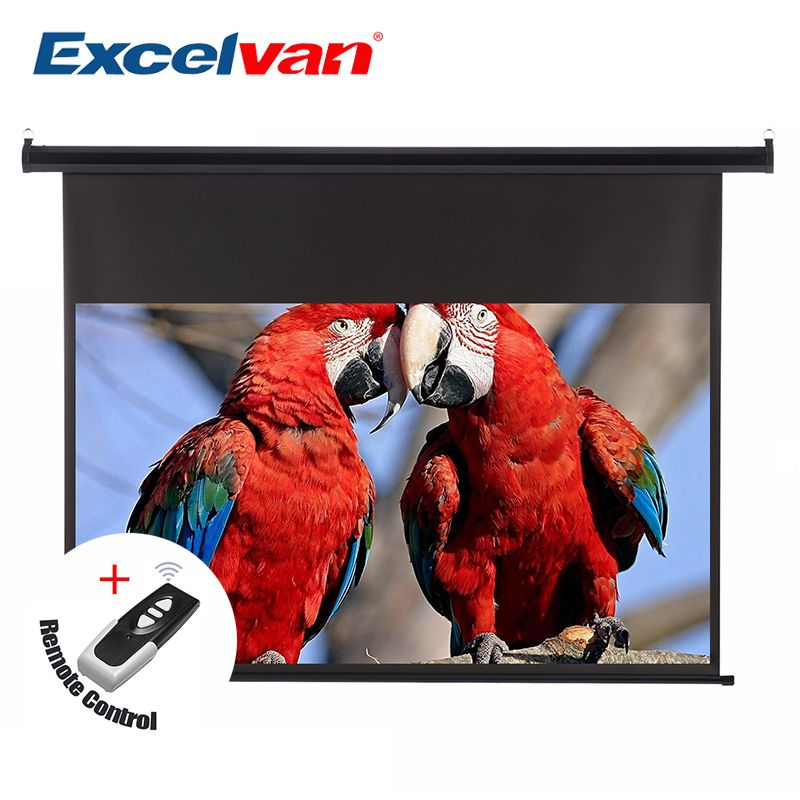 Excelvan 100 inch 16:9 1.2 Gain Wall Ceiling Electric Motorized HD Projector Screen with Remote Control Up Down For Home Office