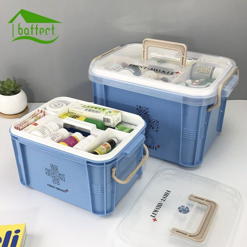 Newest <font><b>Medicine</b></font> Box First Aid Kit Box Plastic Container Emergency Kit Portable Multi-layer Large Capacity Storage Organizer