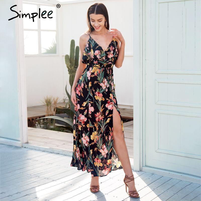 Simplee Casual ruffle split summer dress women Backless boho chic long dress 2018 Strap beach print maxi dress female vestidos