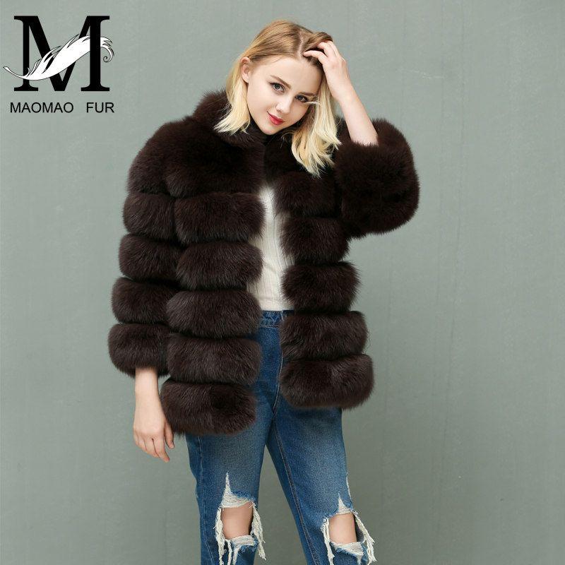 Women Warm Fox Fur Coat Winter Ladies Fur Jacket Fashion Outerwear Female Natural Blue Real Fox Fur Coats
