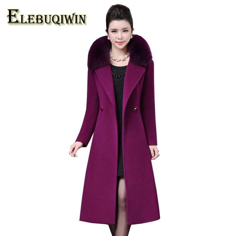 Plus size 4XL Middle aged Womens Woolen Coat Winter 2018 New Imitation Fox Fur Collar Wool Overcoat Long Slim Woolen Jacket LS10