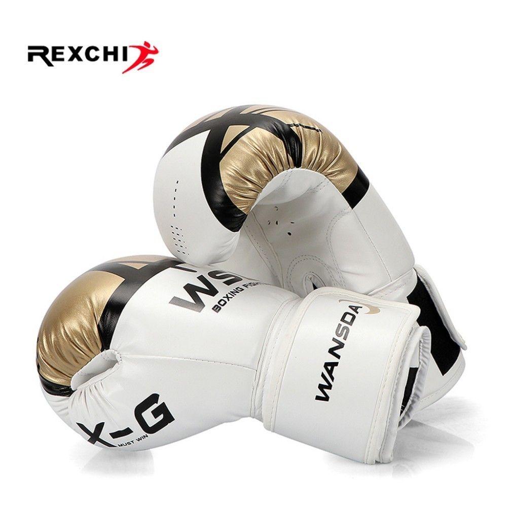 REXCHI Kick Boxing Gloves for Men Women PU Karate Muay Thai Guantes De Boxeo Free Fight MMA Sanda Training Adults Kids Equipment