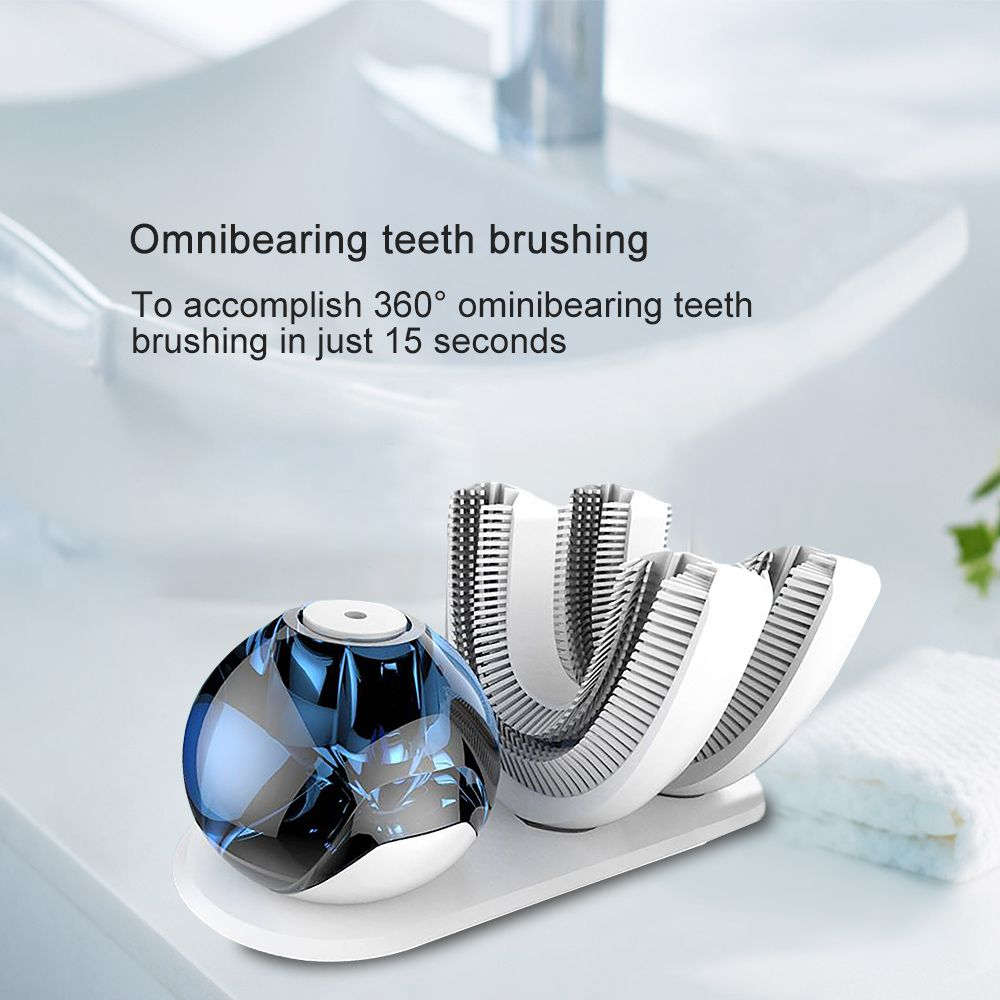 360 Degrees Intelligent Automatic Ultra Sonic Electric Toothbrush USB Charger Teeth Tooth Brush Heads U Shape Timer 15 Seconds