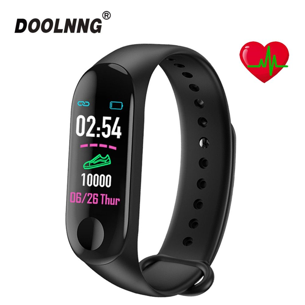 M3 Waterproof Smart Wristband Touch Color Screen Health Test Heart Rate/Blood Pressure Measurement Motion Tracking Pedometer