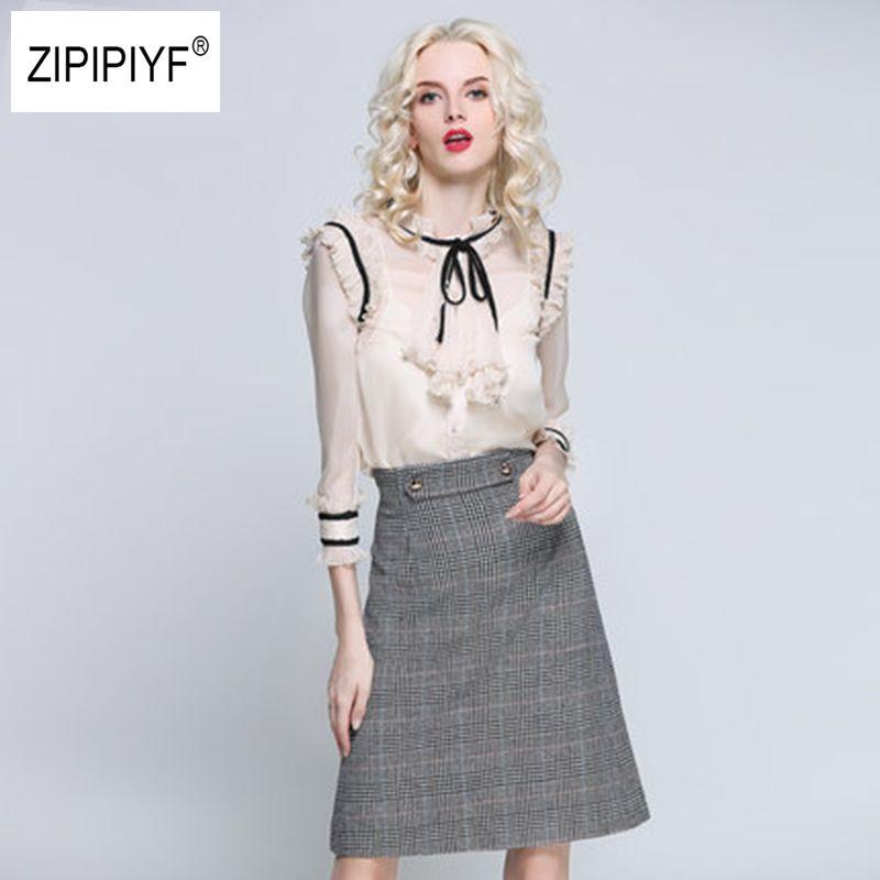 2017 Silk Chiffon Patchwork Blusas Ruffles Shirt For Women Elegant Bow Tie up Collar Blouses translucent Female Tops B1094