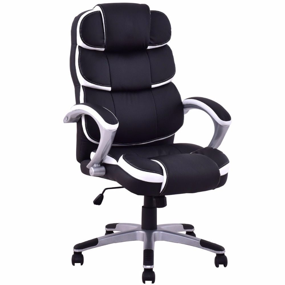 Goplus Ergonomic PU Leather Work office Chair High Back Executive Computer Armrest Lifting 360 Degree Swivel Gaming ChairHW51323
