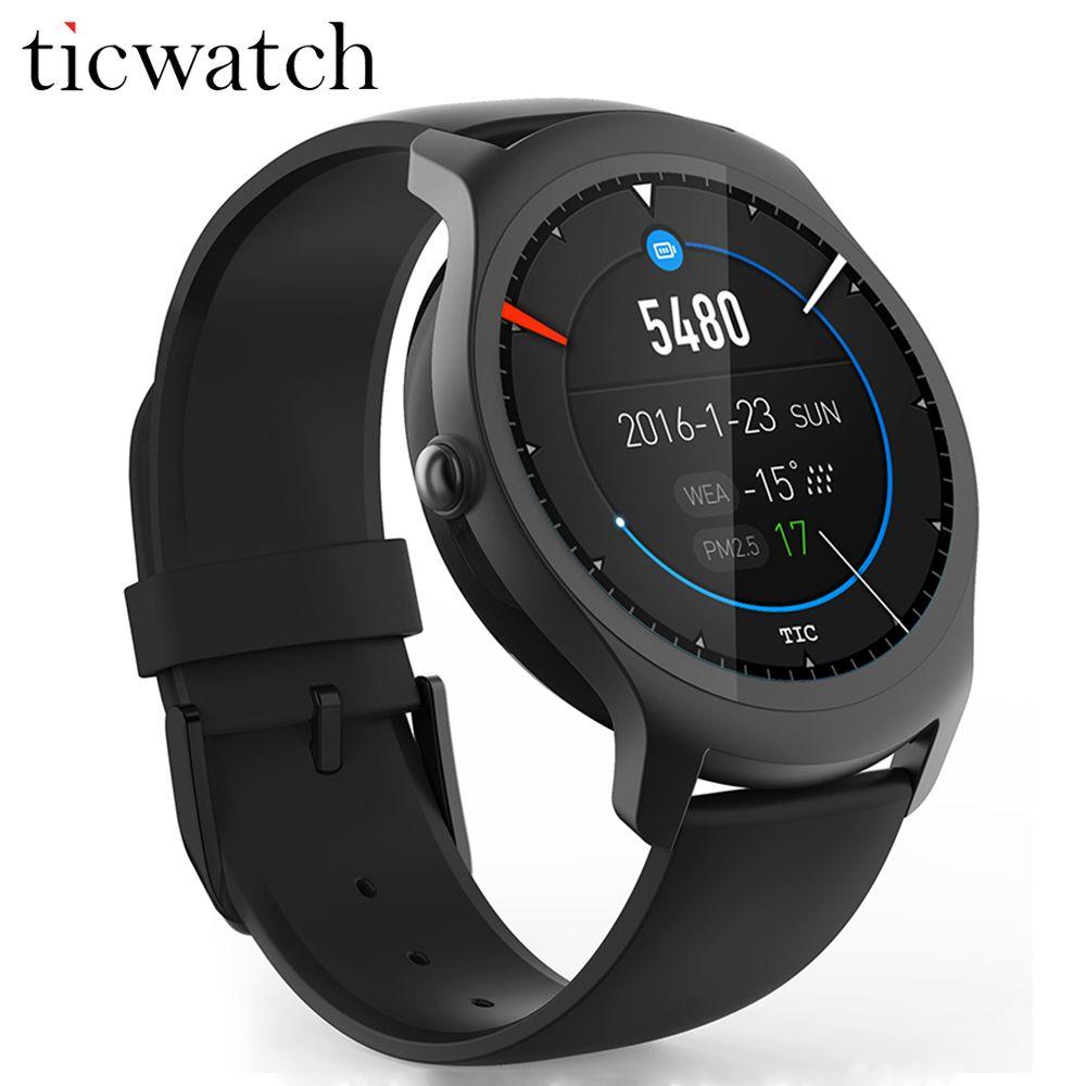 Оригинальный ticwatch 2 GPS Смарт часы 1.2 ГГц 512 М Оперативная память + 4 г Встроенная память сердечного ритма Мониторы SmartWatch IP65 водонепроницаемый Б...
