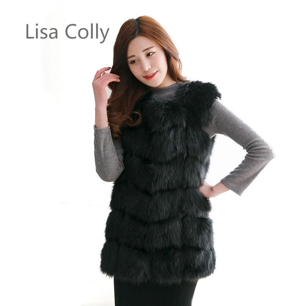 New 2016 Winter Coat Women Fur Vest With a Pocket High-Grade Faux Fur Coat Leisure Women Fox Fur Long Vest S-4XL Size