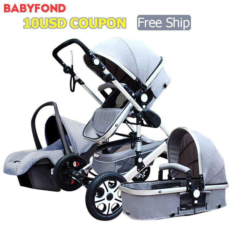 2018 новая версия Детские коляски 3 в 1 с Автокресло высокое пейзаж складной коляски 0-3 лет коляски