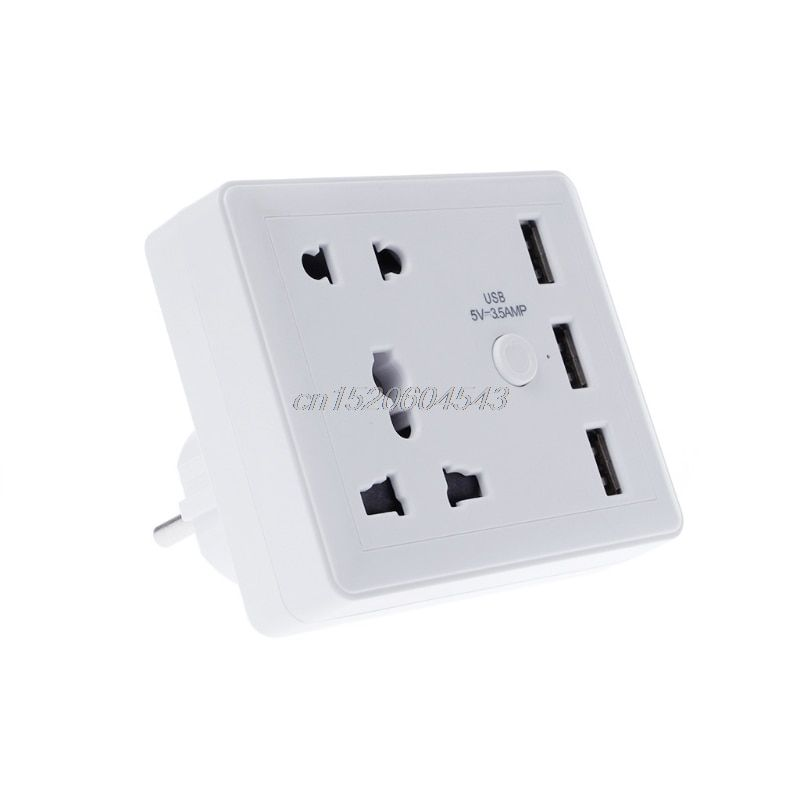 Smart Home European Plug LED Wall Socket With 3 USB Ports Universal Travel Adapter R06 Drop Ship