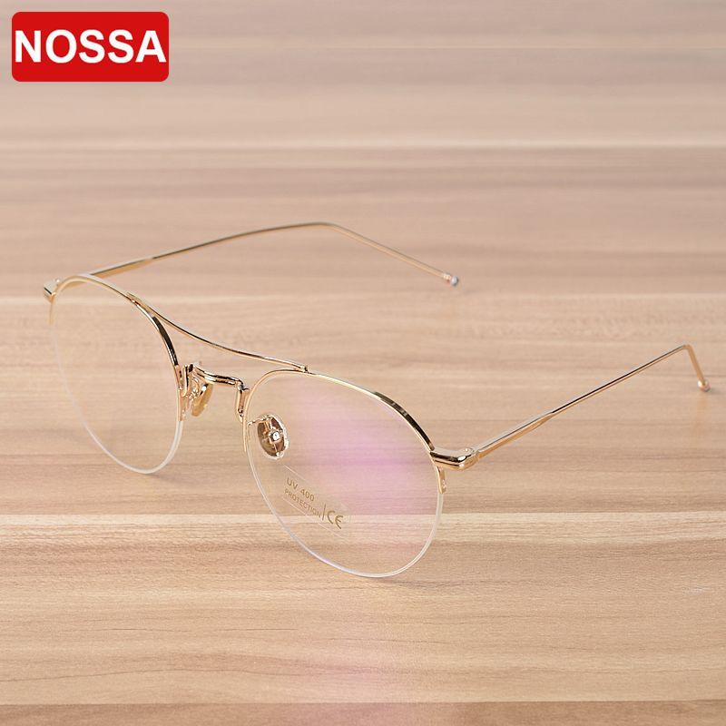NOSSA excellente Semi jante hommes femmes métal lunettes de luxe lunettes cadre élégant lunettes Prescription cadres lunettes