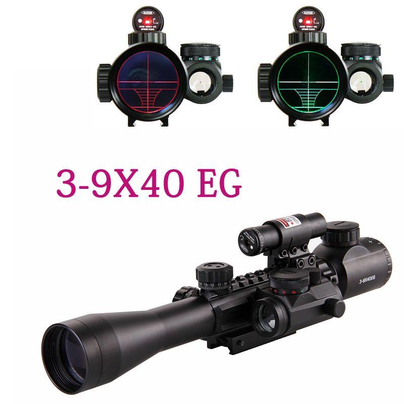 3-9X40EG haute qualité portée portée rouge/vert illuminé optique Sniper chasse portée de vue montage pour Rail 11mm 20mm