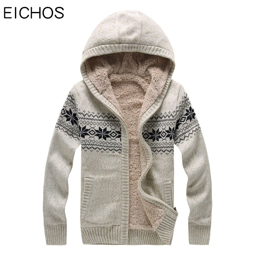 EICHOS Mens Sweaters Hooded Cardigan Clothing Printed Thick Knitted Sweater Men Warm Fur Lining Mens Zipper Sweater 8808MY