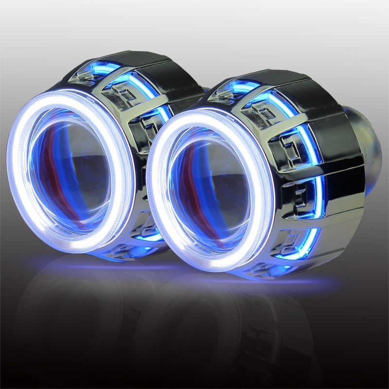3.0 inches Double Angel Eye Conversion Kit H1 H4 H7 9005 9006 bi xenon HID projector lens in car light source
