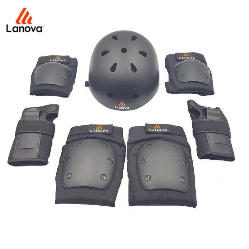 LANOVA 7 pièces/ensemble équipement de Protection de patin genouillères coudières Protection de poignet casque de patin pour Scooter vélo rouleau pour adultes 4 taille