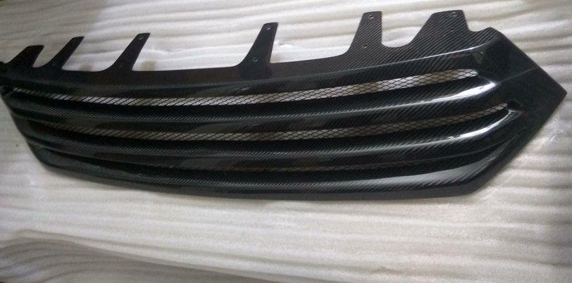 1Pc New Front Upper Center Grille Grill Trims Black Carbon Fiber For TOYOTA Highlander 2012-2013