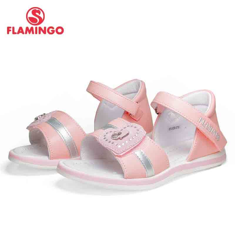 FLAMINGO Brand 2018 Applique Summer Hook&Loop Casual Sandals Leather Insole Pricness Outdoor Little Kids Shoes Flat 81S-XDB-0753